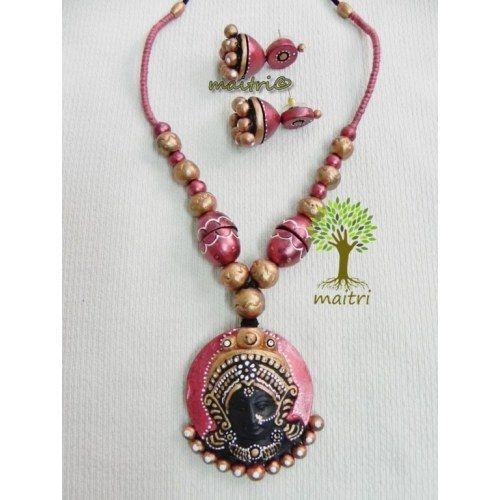 Terracotta Jewellery_Durga_Bright Pink Terracotta https://www.facebook.com/maitricrafts.maitri https://www.facebook.com/maitri.crafts maitri_crafts@yahoo.com