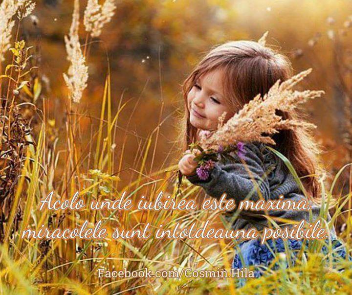 Acolo unde Iubirea este maximă miracolele sunt posibile...  Zi frumoasă prieteni... plină de Iubire Trăire și de Oameni frumoși!