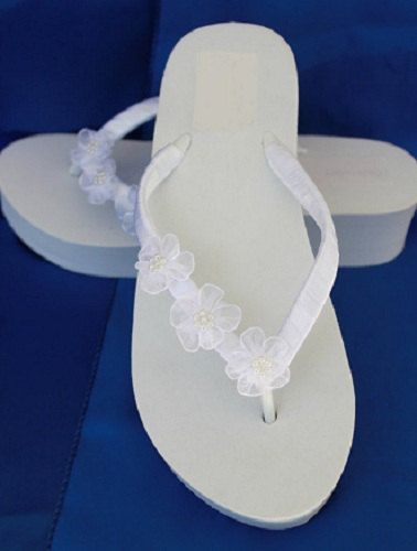 SALE Ivory Flip Flops or White Flip Flops with by ABiddaBling