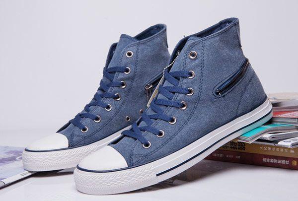 #converse Denim Blue Converse Zip Back Chuck Taylor All Star High Tops Canvas Sneakers