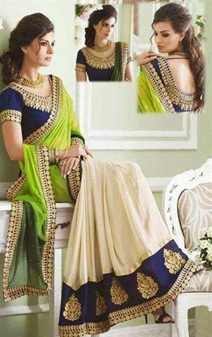 Elegent blouse work, love this colour combo