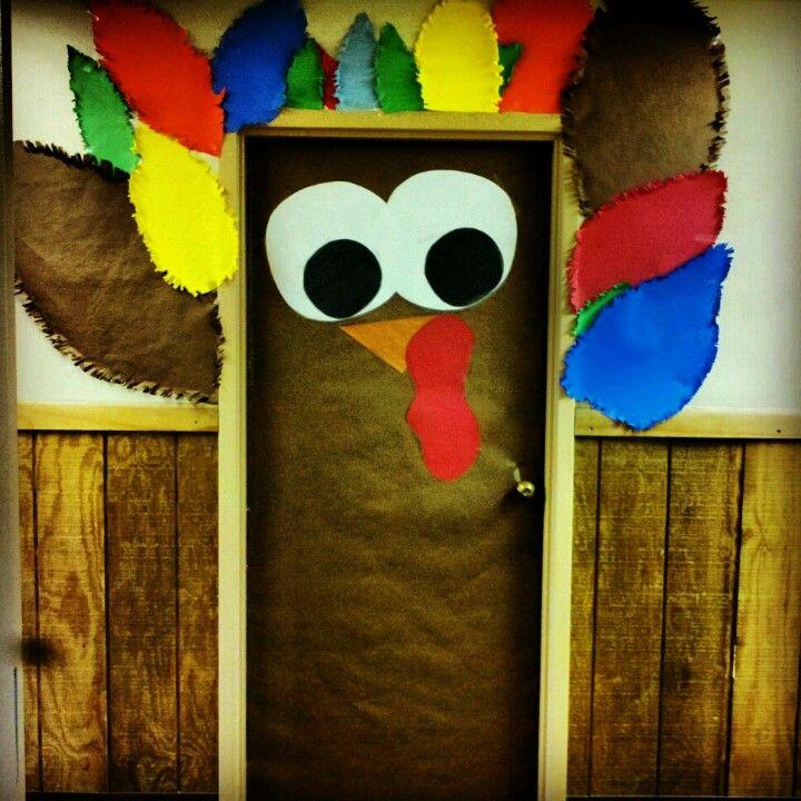 Thanksgiving Classroom Decoration Ideas : My classroom door has been transformed into a turkey