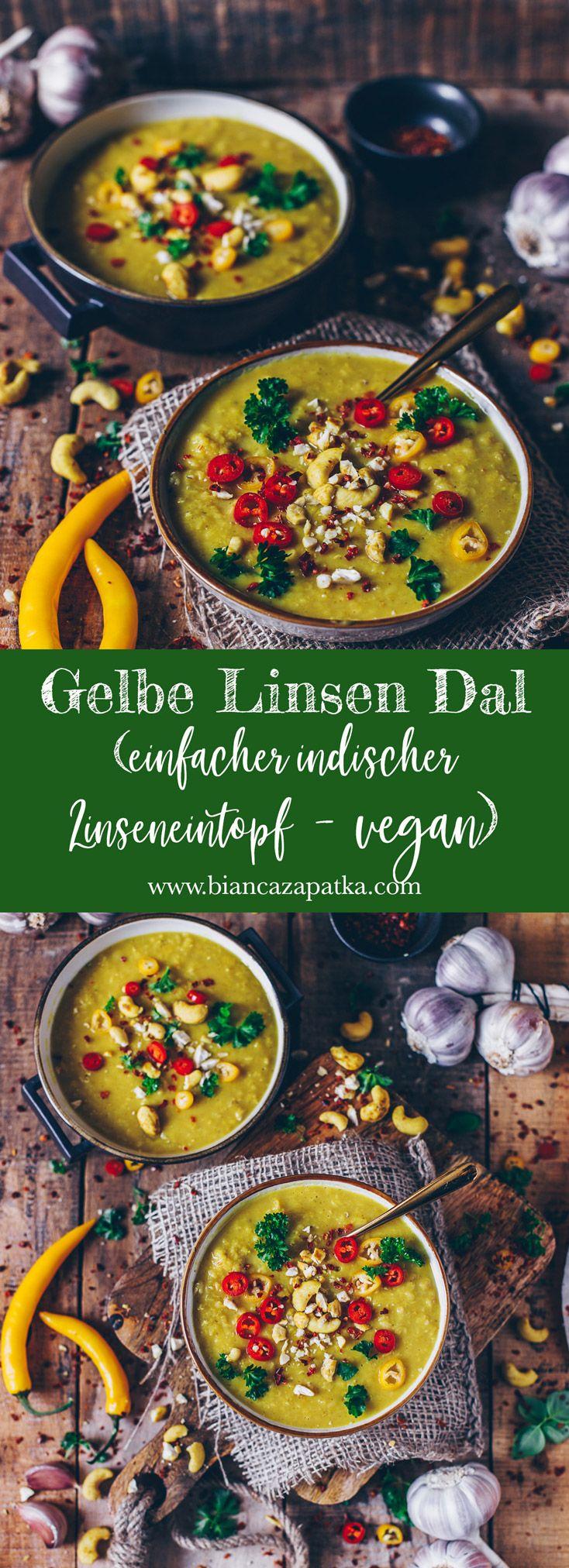 Gelbe Linsen Dal (einfacher indischer Linseneintopf – vegan