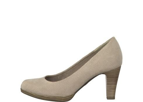 pump van Marco Tozzi, beige, hoge hak, materiaal is stof - Sluimer schoenen