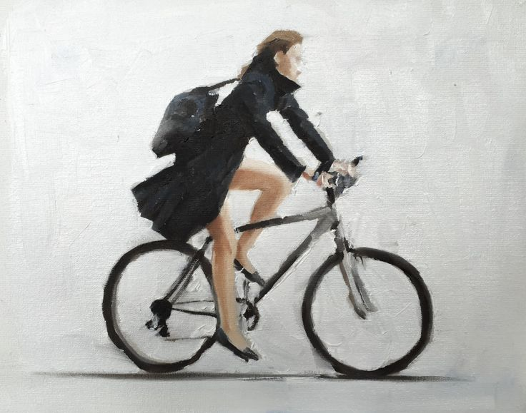 Greeting Card - Cycling Girl - A5 size - approx 6 x 8.5 inches - from original painting by J Coates by JamesCoatesFineArt on Etsy