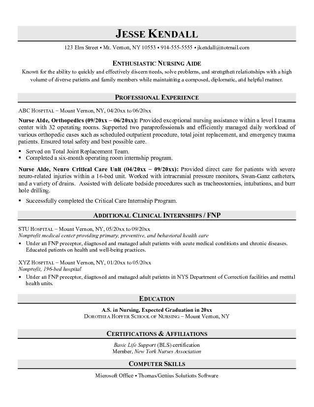 Nurse Aide Resume Sample | Resume Tips Cheat Sheets | Resume ...