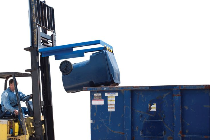 "Trash Can Dumper Lift, carry, and dump trash cans without leaving the seat of your fork truck. Simple design does not have any moving parts. Includes sloped guides to center container as it rotates. Adjustable pick-up hooks adjust from 12"" to 16"". fork pockets measure 4 3/4"" wide x 2"" high on 31 3/4"" centers. Welded steel construction is powder coated blue."