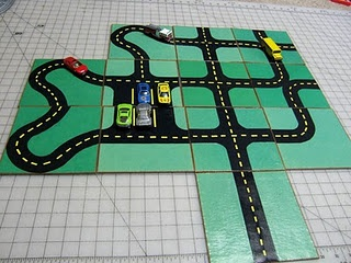 car play mats -could make from felt and allow sections to be individual so they could be rearranged. Velcro?