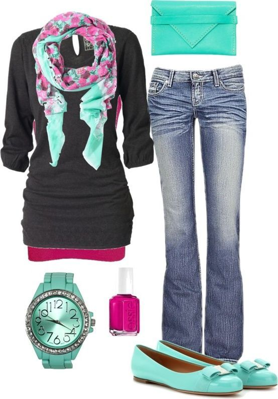 Jean Outfit - Mint Green, Hot Pink, Black