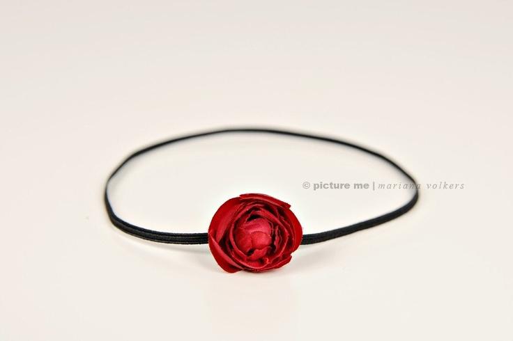 dainty little deep red rose on black skinny headband - christmas headband - newborn headband - infant headband - photo prop