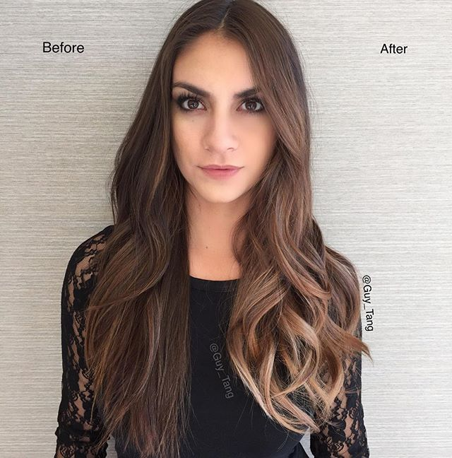 Thank you to all the HairBesties in the land that came to The Denver HairShow on Halloween day to watch the GuyTang+@pravana Balayage class! ❤️ it was everything! Thank you to my partner in crime @arianasin for being my everything! Here is a before and after model! I Balayage half her head to show the result using our PureLight Balayage Lightener with HIGH activator! Chromasilk Express tone with Ash at the hair line and Violet with zero lift everywhere else for 5mins! #pravanabalayage