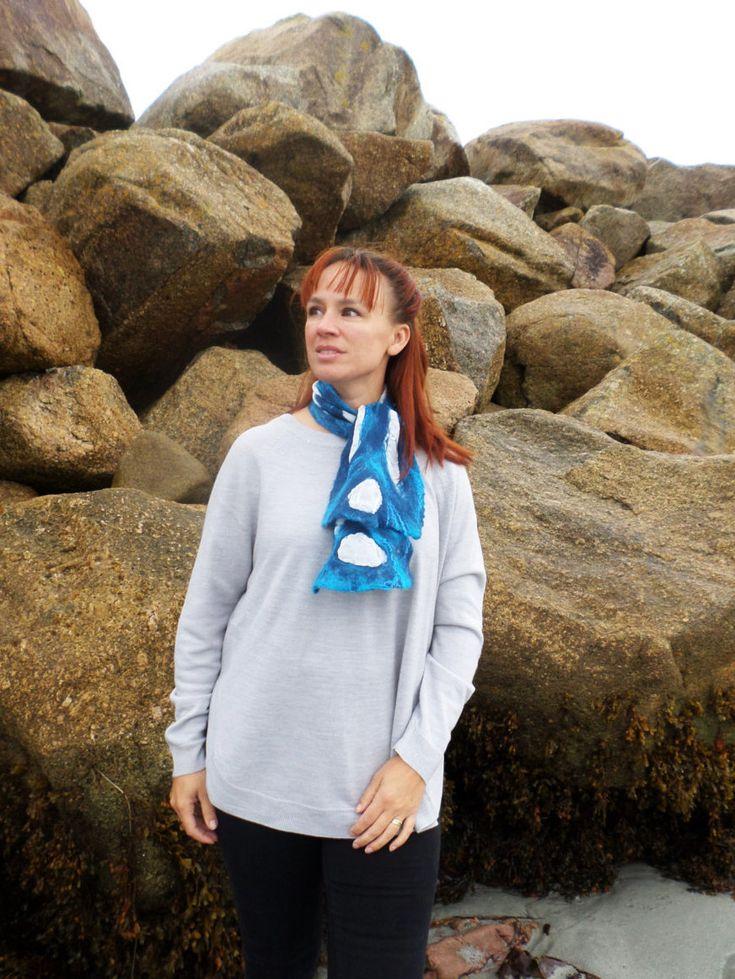 Atlantic Collection :Blue  Nuno felted White Habotai Silk Necktie by FeltbyJayneGillan on Etsy