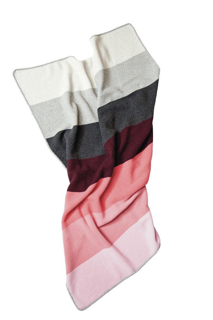 Gradient Colour blanket, grey/bordeaux