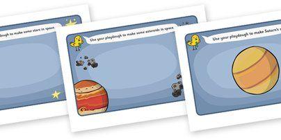 Space Playdough Mats - Space, Playdough, mat, moon, sun, earth, mars, ship, rocket, alien, launch, stars, planet, planets