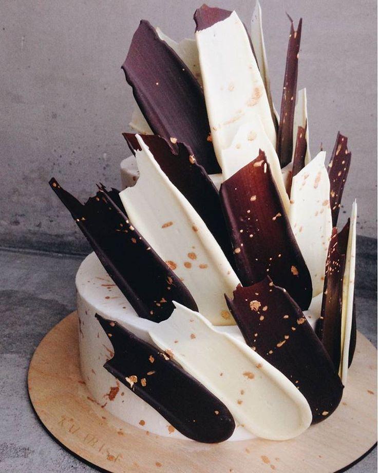 Black and White Brushstroke Cake