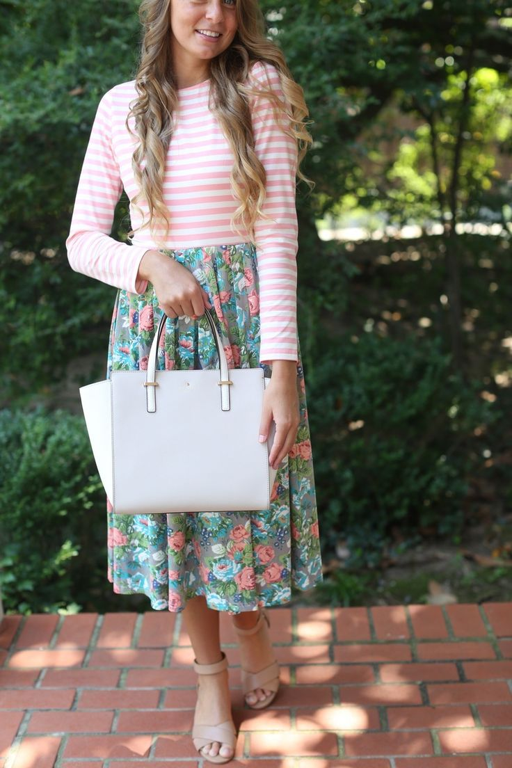Modest Fashion | Modest Bridesmaid Dresses | Sidewalk Stroll Dress in Pink Florals by Dainty Jewell's
