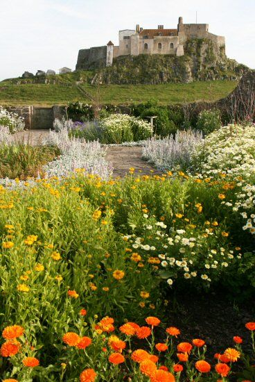 Lindisfarne Castle, from Gertrude Jekyll Garden, Holy Island, Northumberland, England