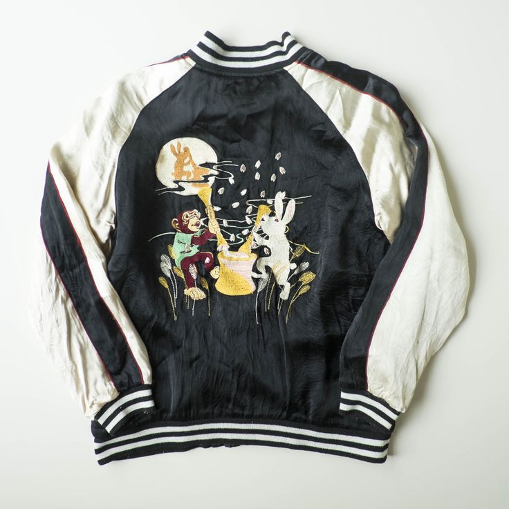 Japanese Folklore Usagi Rabbit Monkey Saru by the Moon Fables Story Japonican Sukajan Jacket - Japan Lover Me Store