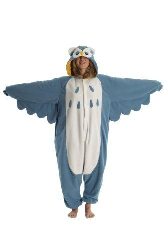 Owl Onesie Pyjamas - Genuine Kigurumi Animal Costumes for Adults - Men & Women - Great All in One Fancy Dress Halloween Outfits Or Pajamas - This Kig Is Made From Our Super Snuggly Fleece Material And Now Features Zips by Kigs, http://www.amazon.co.uk/dp/B00CRDH9RK/ref=cm_sw_r_pi_dp_uSuysb0DHDC6F