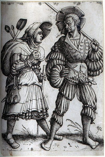 The Soldier and his Wife. Etching by Daniel Hopfer, who is believed to have been the first to apply the technique to printmaking