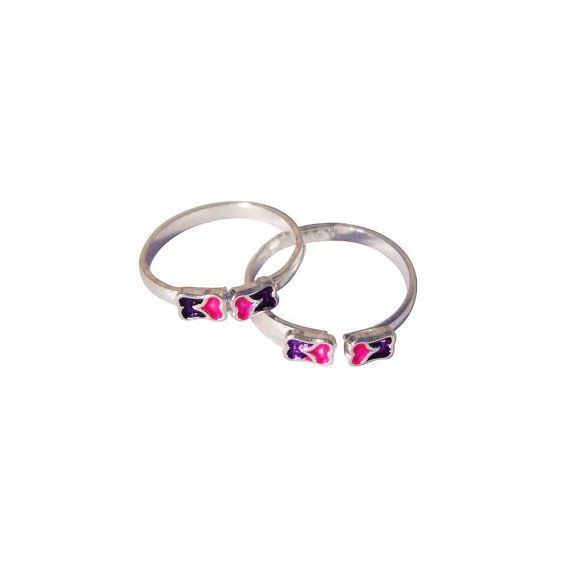 Sterling Silver with Enamel Pink and Purple Flower Design Toe Ring 5N61pAdIBq