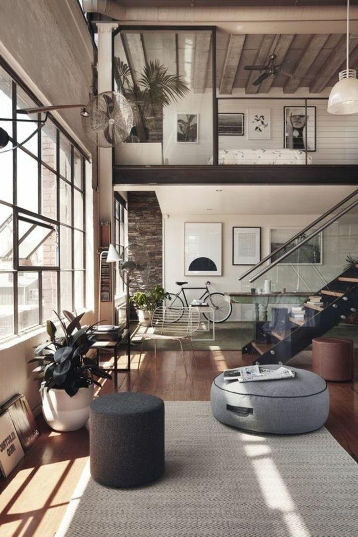 appartement-minimaliste-mezzanine-escalier-préfabriqué-en-bois-et-fer