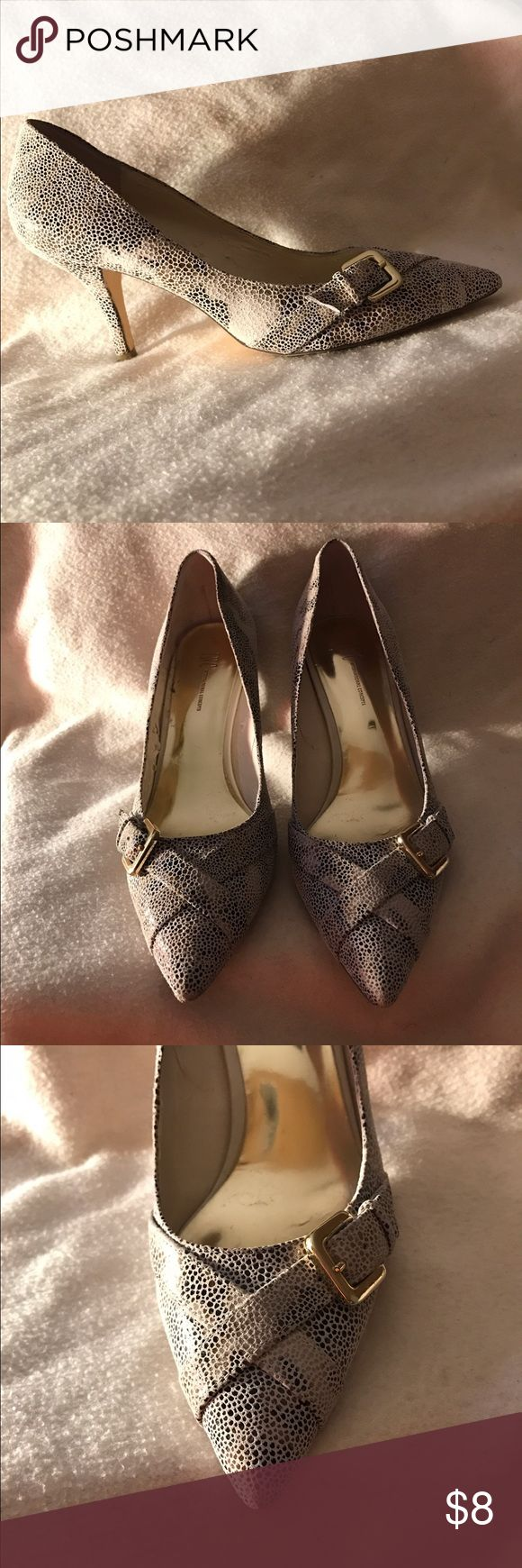 Macy's INC Snakeskin Print Pump Inc Snakeskin pumps. Cute gold buckle on the side. Slight stripping on inside of right shoe. 3 in heels. INC International Concepts Shoes Heels