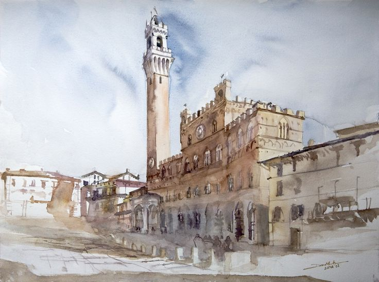 Piazza del Campo, 42x56cm, 2008 www.minhdam.com #architecture #watercolor #watercolour #art #artist #painting #siena #tuscany #italy
