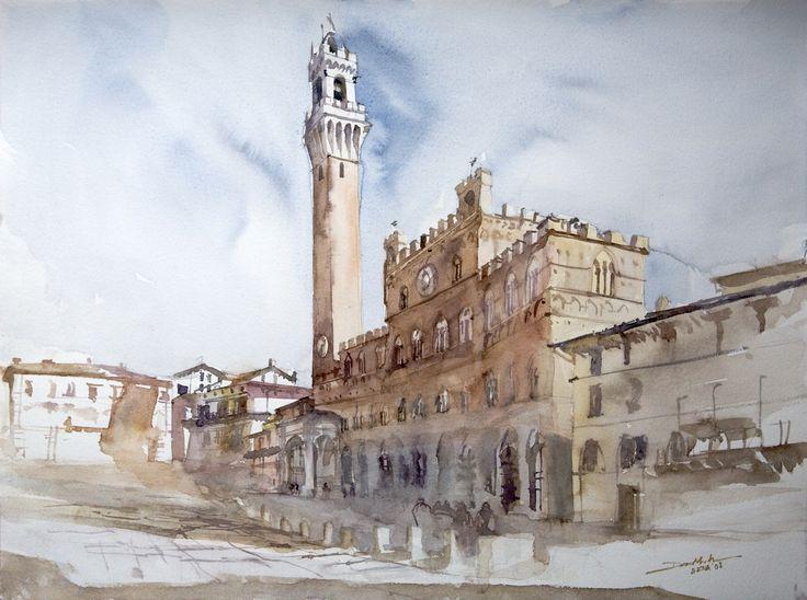 Piazza del Campo, 42x56cm, 2008 www.minhdam.com #architecture #watercolor #watercolour #art #artist #painting #siena #tuscany #italy