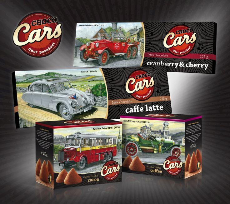 Unikátní kolekce CHOCO CARS. Obal nese motiv historických vozů Tatra. Hořká a mléčná čokoládu s nevšedními příchutěmi a v neobvykle velkém balení 30 x 9 cm. Vybírat můžete z mléčné čokolády s příchutí caffe latte, sušenkami a kávou nebo hořké čokolády s kousky brusinek a višní. Kolekce zahrnuje také oblíbené čokoládové lanýže z mléčné belgické čokolády.