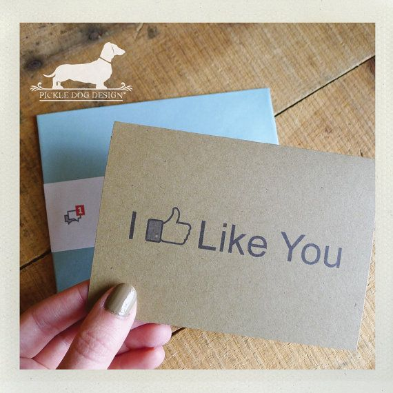 I Like You Note Card  Funny Card Humorous Geeky by PickleDogDesign, $4.00