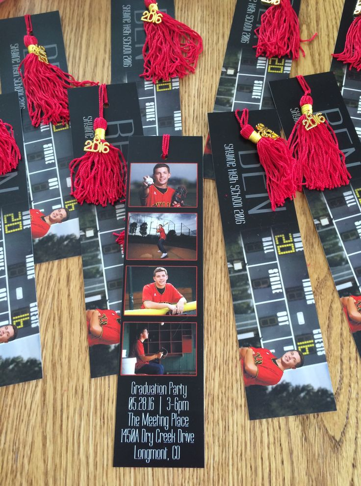Unique invitations for my son's graduation party - tassel bookmark. Photos from his senior photo session with the photographer. Designed the layout with the photographer and the bookmarks were printed via the same printer that did his announcements. Tassels from Oriental Trading. All colors available and includes the cute 2016 charm. Tassels are originally long. Cut the tassels shorter for the bookmarks. #graduationinvitations #graduationideas #classof2016 #graduationcrafts