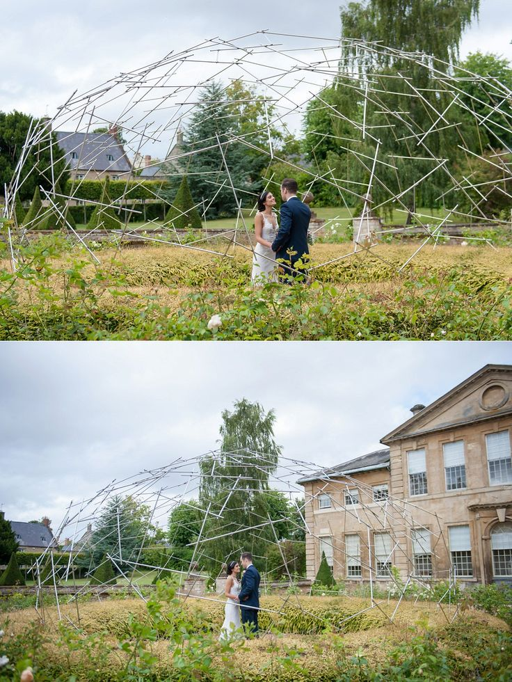 wedding photo in Aynhoe Park metal sculpture