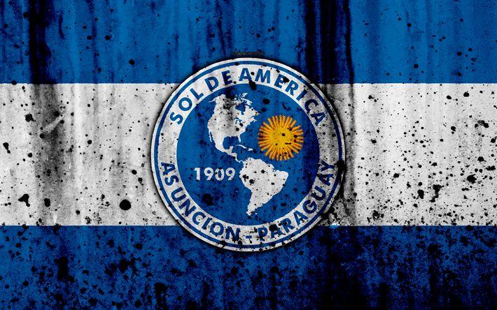 Download wallpapers 4k, FC Sol de America, grunge, Paraguayan Primera Division, soccer, football club, Paraguay, Sol de America, art, logo, stone texture, Sol de America FC