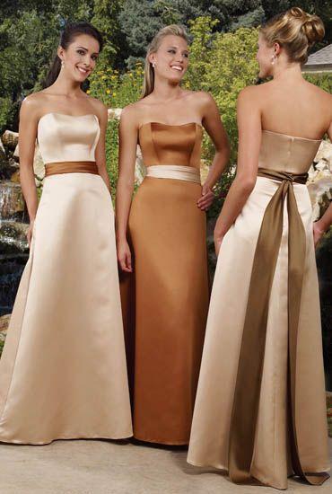 Vestidos para Damas de Honor: Wedding Bridesmaid Dresses, Satin Bridesmaid Dresses, A Line Wedding, Dresses Style, Wedding Dresses, Bridesmaid Colors, Satin Sash, Colors Combinations, Bridesmaid Gowns