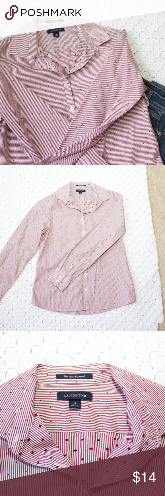 """Lands End Burgundy Striped Button Shirt Size 4 Lands End burgundy and white striped and dotted long sleeve button down shirt, size. """"No Iron Supima"""" -- 100% Supima cotton. Excellent condition. Smoke free home. Bundle with the other Lands End' button shirt for an offer!  Approximately 19"""" wide under arms, 24"""" shoulder to hem. Lands' End Tops Button Down Shirts"""