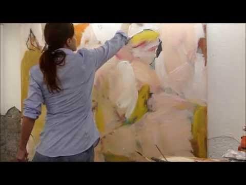 Abstraktes malen mit Acrylfarbe, Große Formen, helle Farben, DEMO - YouTube