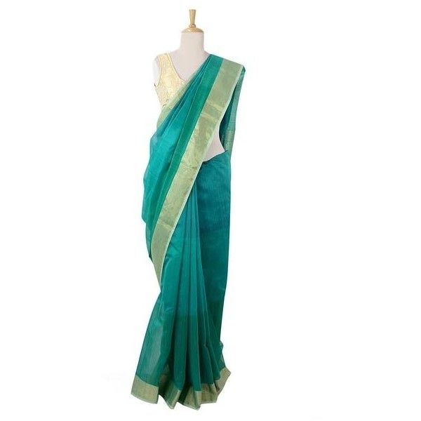 NOVICA Hand Loomed Teal and Gold Sari in Cotton and Silk Blend ($123) ❤ liked on Polyvore featuring tops, clothing & accessories, green, saris, teal tops, gold top, green top, novica and white top