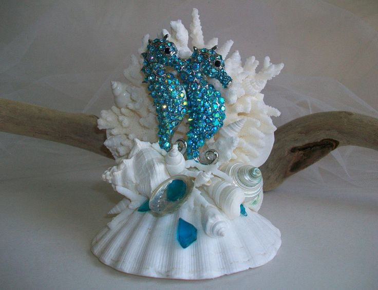 Beach Theme Seahorse Wedding Cake Topper, LAST ONE! Turquoise Blue Jeweled Seahorse Shell Coral Seaglass Cake Topper Bridal Decor by SeashellBeachDesigns on Etsy