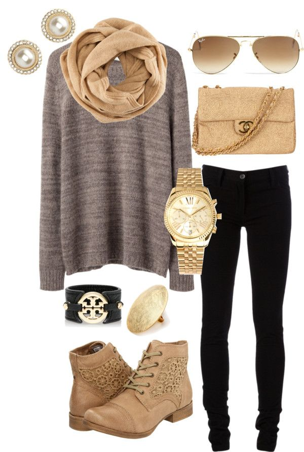 Camel, gray and black...it's a hot combo this fall. For this look, get Lisette Style 801 in black. low boots   aviators   gold accessories   black pants   comfy sweater   black and gold cuff   fall style   fall fashion