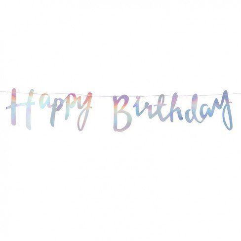"""Ghirlanda Unicorn """"Happy Birthday"""" iridescente (mt 1,50)"""