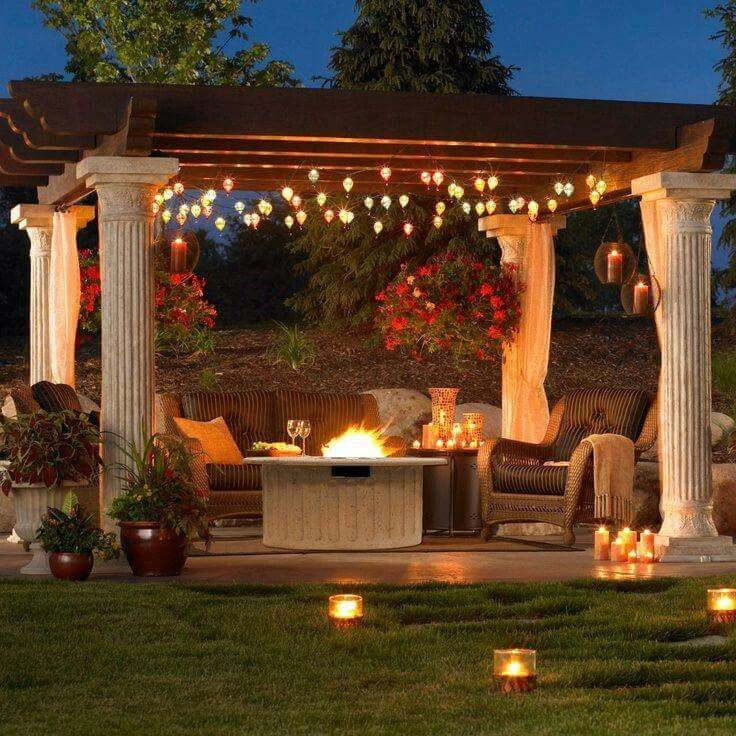 A Magnificent Backyard Pergola Illuminated With Candles, a Fire Pit and Bungalow Lights!!