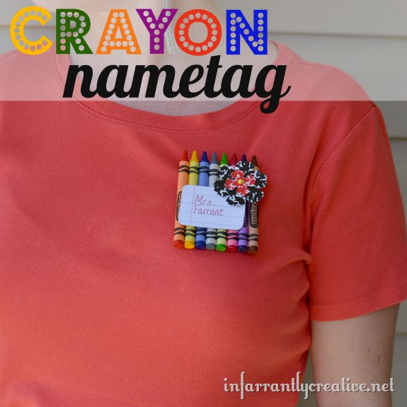 Crayon Name Tag - Adorable fall craft idea that's perfect for the first day of school.