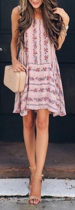 #summer #outfits / pink pattern print dress