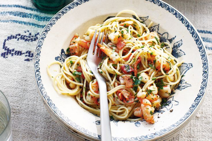It might sound fancy, but this prawn and bacon pasta is quick and simple to make.