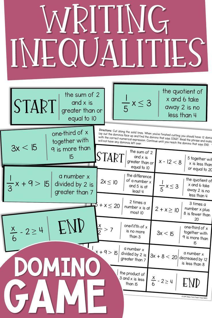 Writing Inequalities Domino Game Math Games Middle School Writing Inequalities Classroom Math Games