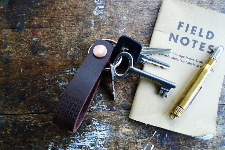 www.877workshop.com — Keychain embossed brown leather copper rivet