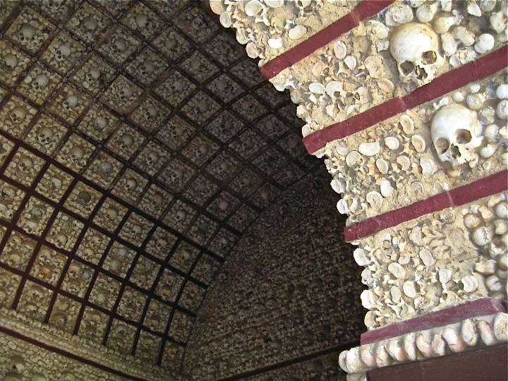 Chapel of Bones in Faro, Portugal.  Made with the bones of monks!  This place was hard to find but worth it.  Photo by Aimee Kasten
