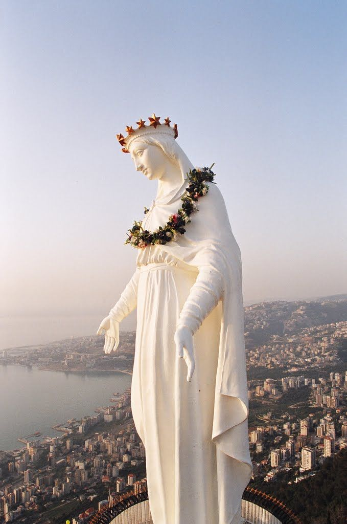 Our Lady of Lebanon: 'The reward for vertigo sufferers who have survived the 530m ascent on the Téléférique is this important 19th-century 15-tonne bronze statue (painted in white) of the Virgin Mary.' Lebanon: the Bradt Guide www.bradtguides.com