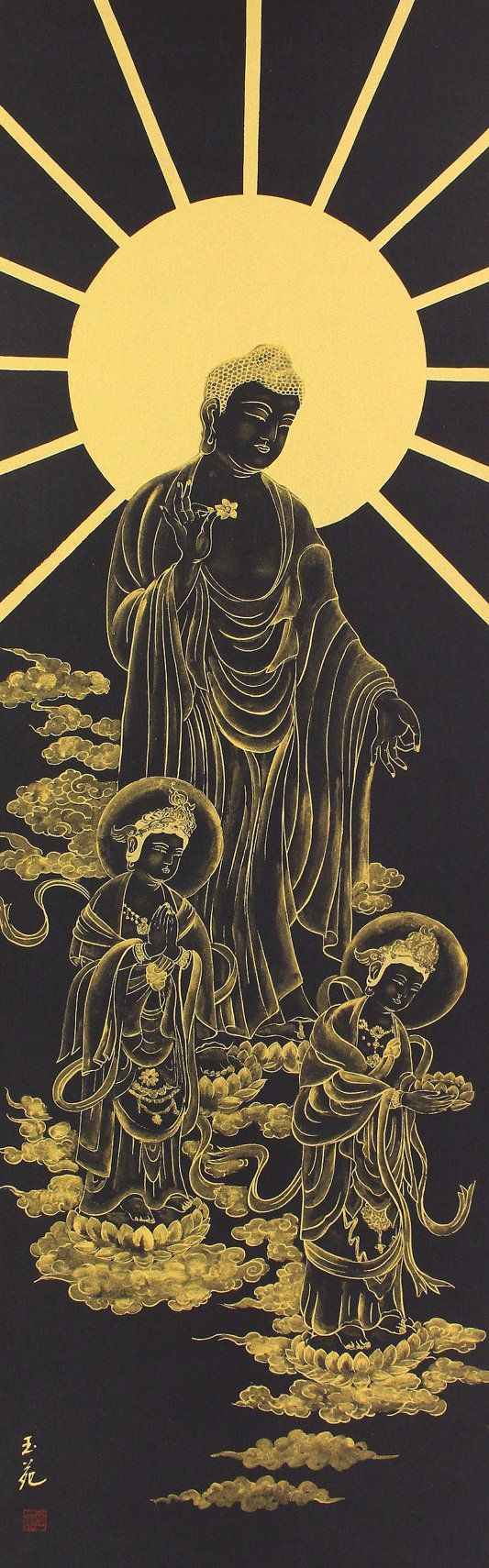 Gold Painting on Navy blue coIour, images of Three Buddha.